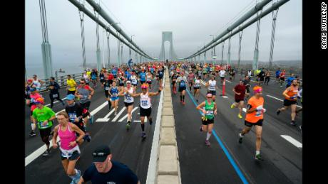 Runners cross the Verrazano-Narrows Bridge during the New York City Marathon on Sunday, Nov. 5, 2017, in New York. (AP Photo/Craig Ruttle)