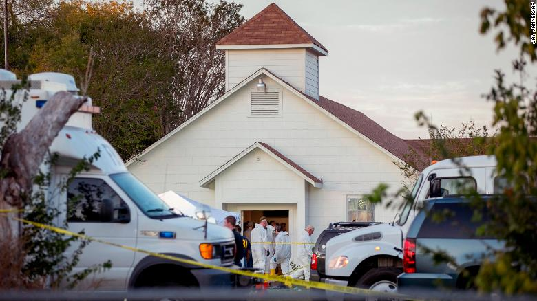 Investigators work at the scene of a mass shooting at the First Baptist Church in Sutherland Springs, Texas, on Sunday, November 5. A man opened fire inside the small community church, killing at least 26 people.