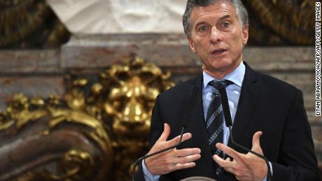 Argentinian President Mauricio Macri addresses the media, next to his Peruvian counterpart Pedro Pablo Kuczynski (out of the frame), at the Casa Rosada presidential palace in Buenos Aires, on November 3, 2017.     Kuczynski arrived in Argentina to sign a series of bilateral agreements. / AFP PHOTO / EITAN ABRAMOVICHEITAN ABRAMOVICH/AFP/Getty Images