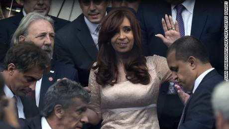 Argentine President Cristina Fernandez de Kirchner waves after the inauguration of the 133th period of ordinary sessions at the Congress in Buenos Aires, Argentina on March 1, 2015.  AFP PHOTO / JUAN MABROMATA        (Photo credit should read JUAN MABROMATA/AFP/Getty Images)