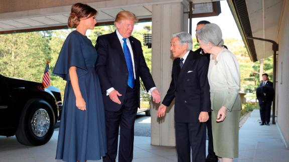Akihito and Michiko greet US President Donald Trump and first lady Melania Trump as they arrive at the Imperial Palace in November 2017.