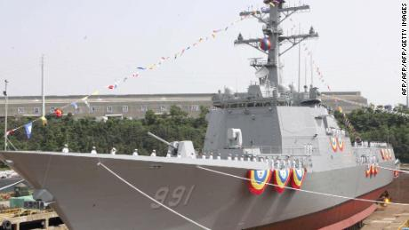 South Korean Navy's Aegis destroyer, the King Sejong is seen at its launching ceremony at the Ulsan dockyard of Hyundai Heavy Industries in 2007.