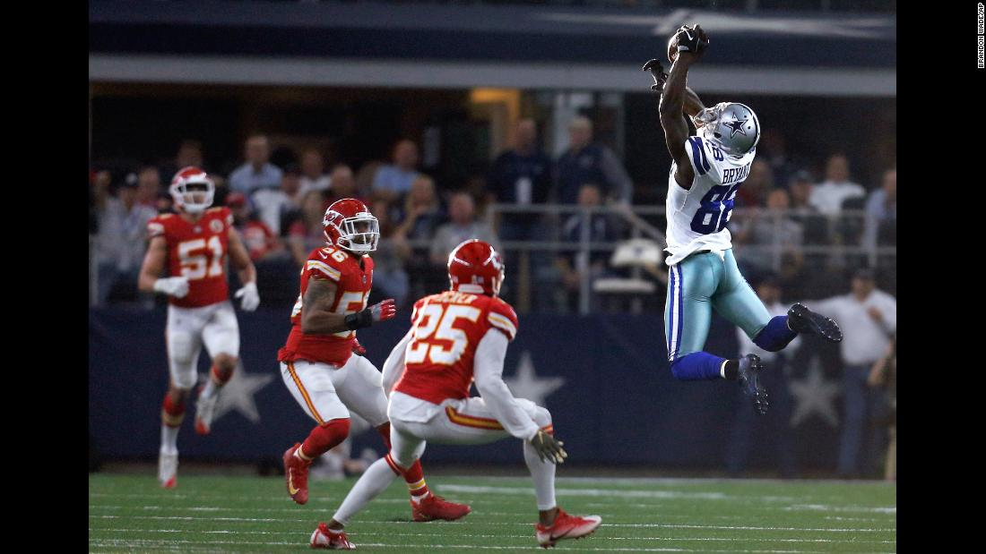 Dallas wide receiver Dez Bryant leaps for a pass during an NFL game against Kansas City on Sunday, November 5.