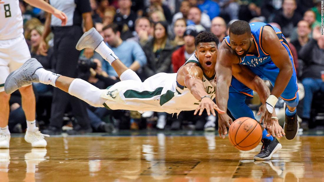 Oklahoma City guard Raymond Felton, right, competes for a loose ball with Milwaukee forward Giannis Antetokounmpo during an NBA game on Tuesday, October 31.