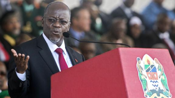 Tanzania's newly elected president John Magufuli delivers a speech during the swearing in ceremony in Dar es Salaam, on November 5, 2015. John Magufuli won in the October 25 poll with over 58 percent of votes cemented the long-running Chama Cha Mapinduzi (CCM) party's firm grip on power.. AFP PHOTO/Daniel Hayduk        (Photo credit should read Daniel Hayduk/AFP/Getty Images)