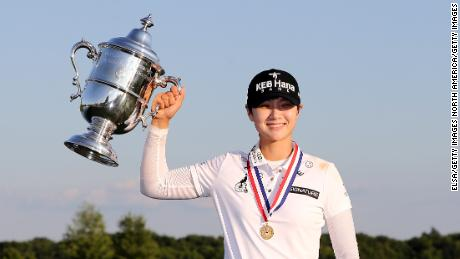 BEDMINSTER, NJ - JULY 16:  Sung Hyun Park of Korea poses with the trophy after the final round of the U.S. Women's Open on July 16, 2017 at Trump National Golf Club in Bedminster, New Jersey.  (Photo by Elsa/Getty Images)