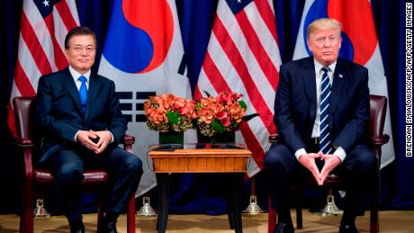 South Korea's President Moon Jae-in and US President Donald Trump wait for a meeting at the Palace Hotel during the 72nd United Nations General Assembly September 21, 2017 in New York City. / AFP PHOTO / Brendan Smialowski        (Photo credit should read BRENDAN SMIALOWSKI/AFP/Getty Images)