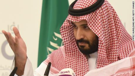 "Saudi Defense Minister and Deputy Crown Prince Mohammed bin Salman gestures during a press conference in Riyadh, on April 25, 2016. The key figure behind the unveiling of a vast plan to restructure the kingdom's oil-dependent economy, the son of King Salman has risen to among Saudi Arabia's most influential figures since being named second-in-line to the throne in 2015. Salman announced his economic reform plan known as ""Vision 2030"".  / AFP / FAYEZ NURELDINE        (Photo credit should read FAYEZ NURELDINE/AFP/Getty Images)"