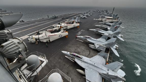 A general view shows the flight deck on board the aircraft carrier USS Theodore Roosevelt in 2015.