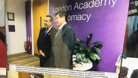 Picture on the wall at Moscow State University (MSU) of Joseph Mifsud (left) with Yury Sayamov, UNESCO Chairholder in the Faculty of Global Processes at MSU. The picture was taken while the two men were at the London Diplomatic Academy.