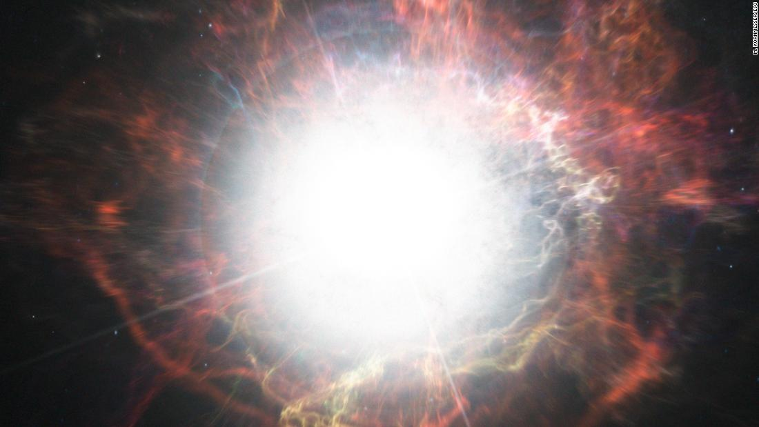 This artist's impression shows a supernova explosion, which contains the luminosity of 100 million suns. Supernova iPTF14hls, which has exploded multiple times, may be the most massive and longest-lasting ever observed.