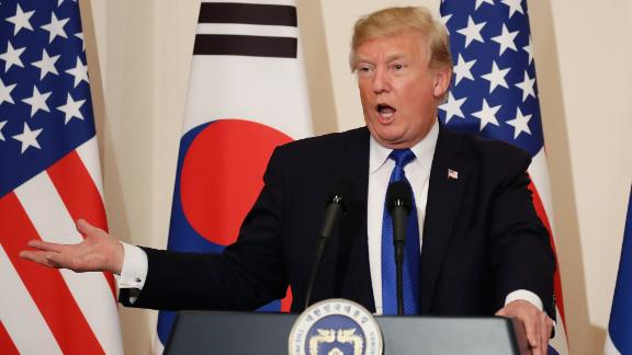U.S. President Donald Trump attends the joint press conference at the presidential Blue House on November 7, 2017 in Seoul, South Korea. Trump is in South Korea as a part of his Asian tour.  (Photo by Chung Sung-Jun/Getty Images)
