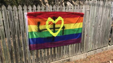 In September one Brisbane resident woke up to find a swastika painted over her rainbow flag.