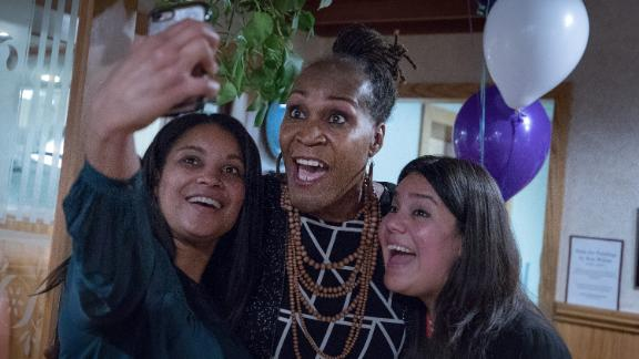 Andrea Jenkins (center) posed for a selfie as she won the Minneapolis Ward 8: Council Member race in Minneapolis on Tuesday.
