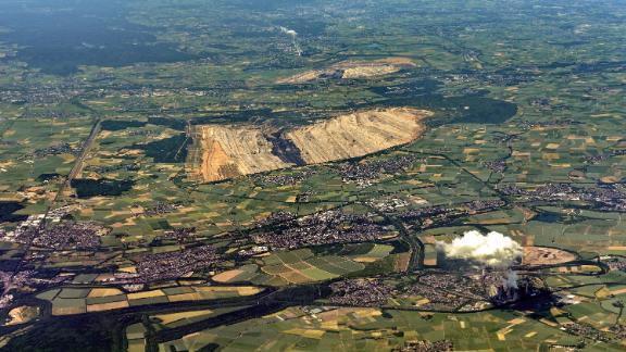 (GERMANY OUT) Aerial view of lignite mining Hambach (Photo by JOKER / Hady Khandani/ullstein bild via Getty Images)