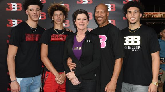 The Ball family -- from left, Lonzo Ball, LaMelo Ball, Tina Ball, LaVar Ball and LiAngelo Ball -- attend LaMelo's 16th birthday party on September 2, 2017 in Chino, California.