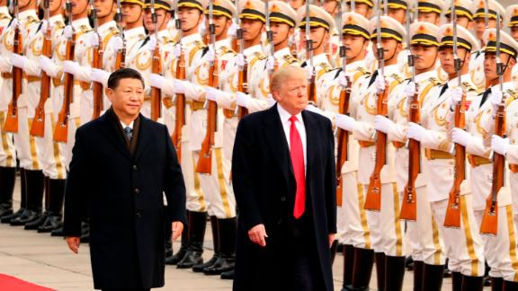 US President Donald Trump and XI take part in a welcome ceremony at the Great Hall of the People on Thursday, November 9, 2017, in Beijing during Trump