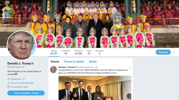 US President Donald Trump's Twitter displays a photo of him and Chinese President Xi Jinping at the Forbidden City in Beijing, China.