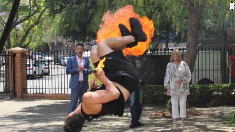 Aiden Malacaria from sets the Guinness World Record for the Most fire breathing full twist backflips in one minute, which is 10, in Sydney, Australia in celebration of Guinness World Records Day 2017. Photo credit should read: Guinness World Records