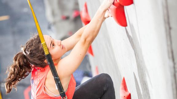 Speed climbing may be the most fun to watch as the athletes frog-hop and monkey-climb a slightly inverted wall nearly 50 feet high in less than 10 seconds.