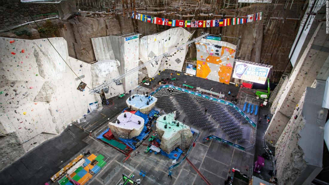The climbing arena is an adult playground just outside the city of Edinburgh housing various climbing walls, a rope obstacle course and a cafe with large observation windows.