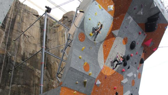 The Edinburgh International Climbing Arena, which hosted the event, is one the largest indoor climbing centers in the world.