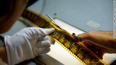 Laboratory workers at Cineteca di Bologna restore film in June, 2015.