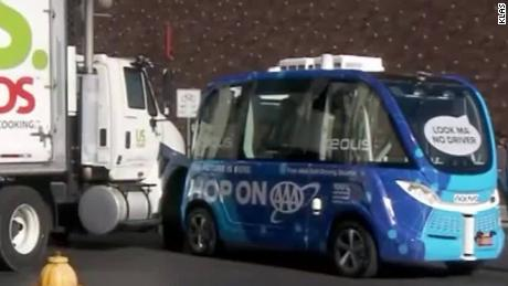 Self-driving bus hit by truck on its first day