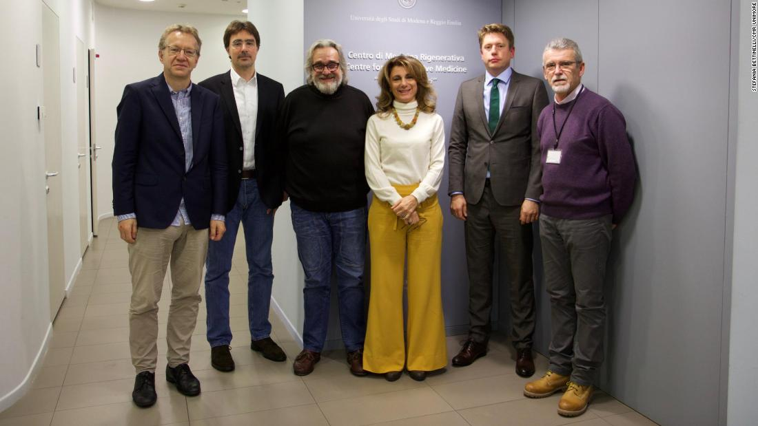 Hassan's core medical team from the Bochum University Hospitals in Germany and University of Modena in Italy that made the treatment possible, from left: Dr. Norbert Teig, Dr. Tobias Rothoeft, Dr. Michele de Luca, Graziella Pellegrini, Dr. Tobias Hirsch and Sergio Bandanza.