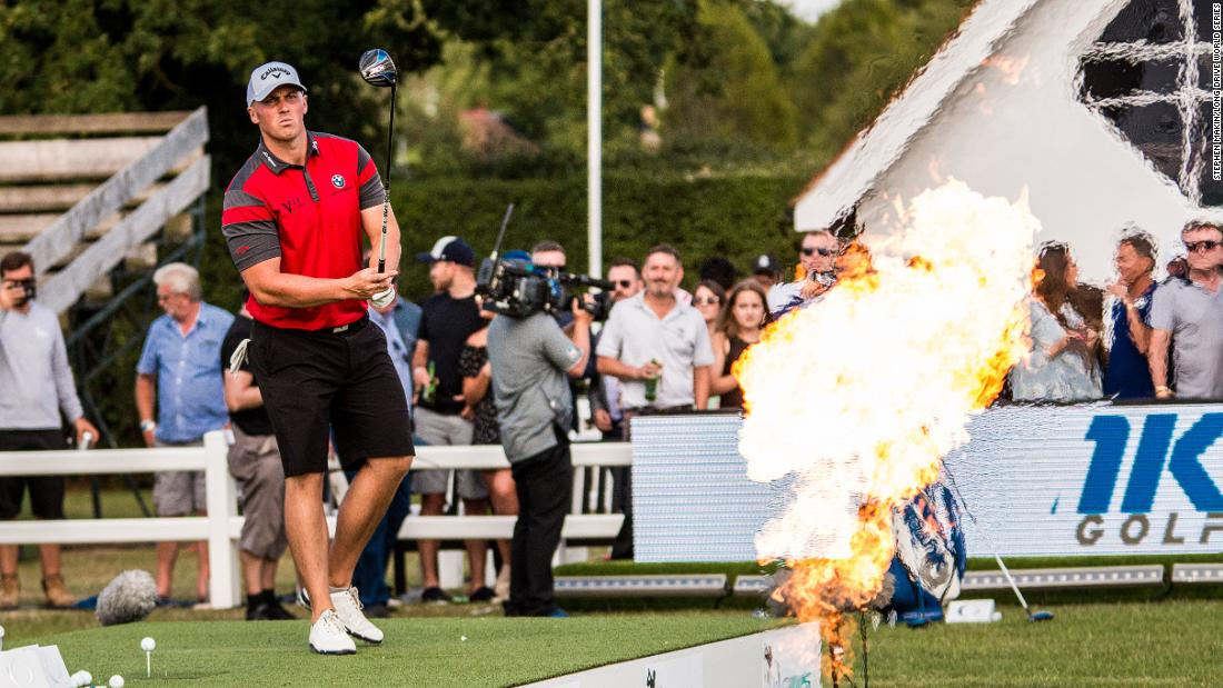 Britain's Joe Miller sizes up a drive at a Long Drive World Series event in the UK earlier this year. Miller is a another huge figure on the long drive circuit. The European-based Long Drive World Series, which both he and Allen compete on, is planning to stage 10 events in 2018.