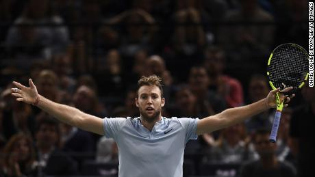 Winner USA's Jack Sock celebrates after winning against Serbia's Filip Krajinovic during the final of the ATP World Tour Masters 1000 indoor tennis tournament on November 5, 2017 in Paris. / AFP PHOTO / CHRISTOPHE SIMON        (Photo credit should read CHRISTOPHE SIMON/AFP/Getty Images)
