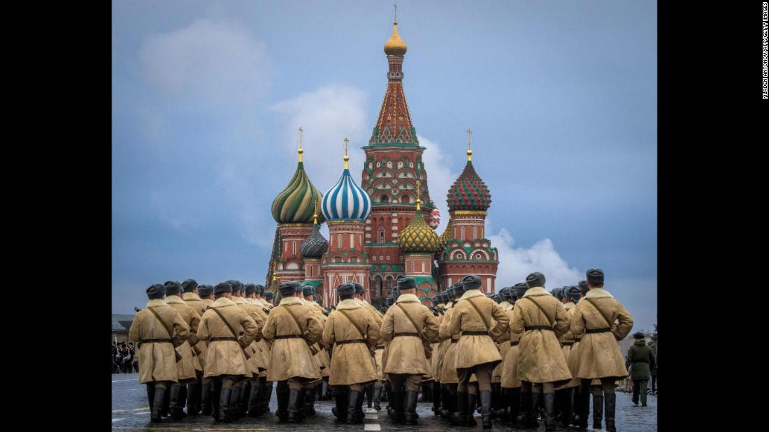 Russian soldiers rehearse Sunday, November 5, ahead of a Red Square parade in Moscow.