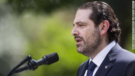 Saad Hariri speaking at a press conference in Washington on July 25, 2017.
