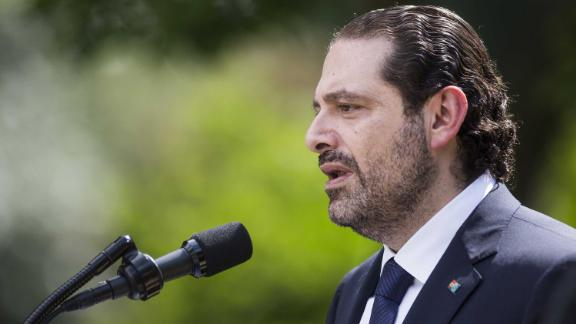 """Saad Hariri, Lebanon's prime minister, left, speaks during a joint press conference with U.S. President Donald Trump, not pictured, in the Rose Garden of the White House in Washington, D.C., U.S., on Tuesday, July 25, 2017. Trumpsaid he's disappointed with Attorney GeneralJeff Sessionsfor recusing himself from investigations of Russian interference in the 2016 election, and that """"time will tell"""" if the nation's top law enforcement officer remains in his job. Photographer: Zach Gibson/Bloomberg via Getty Images"""