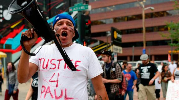 Protesters denounce the police-involved shooting of Native American Paul Castaway in Denver in 2015.