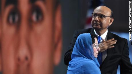 Khizr Khan, father of Humayun S. M. Khan  who was killed while serving in Iraq with the US Army, gestures as his wife looks on during the fourth and final day of the Democratic National Convention at the Wells Fargo Center on July 28, 2016 in Philadelphia, Pennsylvania.   / AFP / Timothy A. CLARY        (Photo credit should read TIMOTHY A. CLARY/AFP/Getty Images)