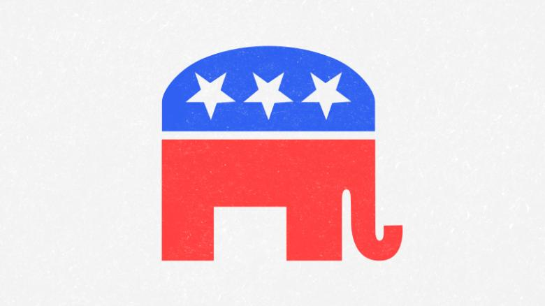a red white and blue elephant