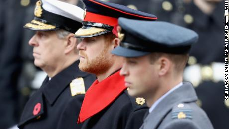 Prince Andrew, Prince Harry and Prince William during the annual Remembrance Sunday memorial.