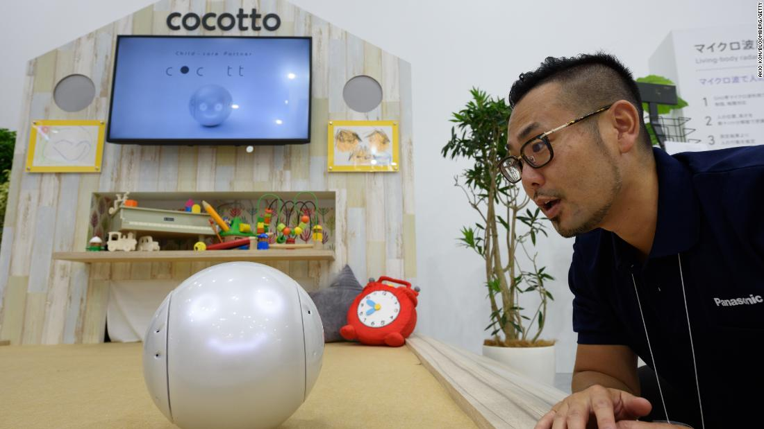 Panasonic's Cocotto social robot for children has been billed as the perfect babysitter for children.