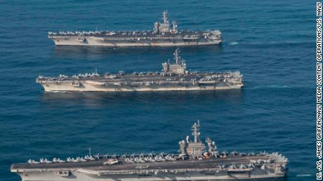 The USS Ronald Reagan, Theodore Roosevelt and Nimitz and their strike groups conduct operations.