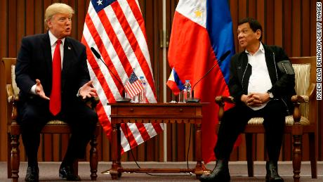 Philippine President Rodrigo Duterte (2-L) and US President Donald Trump (L) hold a bilateral meeting on the sidelines of the 31st Association of Southeast Asian Nations (ASEAN) Summit at the Philippine International Convention Center in Manila on November 13, 2017. 