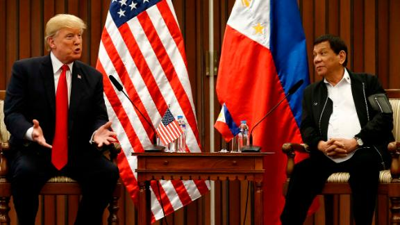 Philippine President Rodrigo Duterte (2-L) and US President Donald Trump (L) hold a bilateral meeting on the sidelines of the 31st Association of Southeast Asian Nations (ASEAN) Summit at the Philippine International Convention Center in Manila on November 13, 2017. World leaders are in the Philippines' capital for two days of summits.  / AFP PHOTO / AFP PHOTO AND POOL / Rolex DELA PENA        (Photo credit should read ROLEX DELA PENA/AFP/Getty Images)