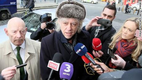 Geldof arrives at Dublin City Hall to return his award Monday.