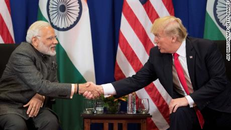 US President Donald Trump (R) shakes hands with Indian Prime Minister Narendra Modi during a bilateral meeting on the sideline of the 31st Association of Southeast Asian Nations (ASEAN) Summit in Manila on November 13, 2017. 