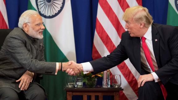 US President Donald Trump (R) shakes hands with Indian Prime Minister Narendra Modi during a bilateral meeting on the sideline of the 31st Association of Southeast Asian Nations (ASEAN) Summit in Manila on November 13, 2017. World leaders are in the Philippines' capital for two days of summits.  / AFP PHOTO / JIM WATSON        (Photo credit should read JIM WATSON/AFP/Getty Images)