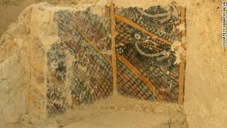 An ancient mural believed to be the oldest ever discovered in the Americas at the Ventarrón archaeological complex in Peru. The mural was destroyed by a fire on Sunday.