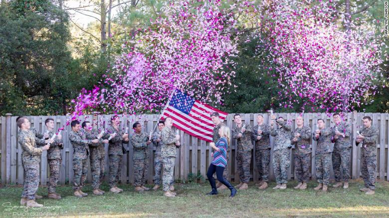 Soldiers help widow reveal baby's gender