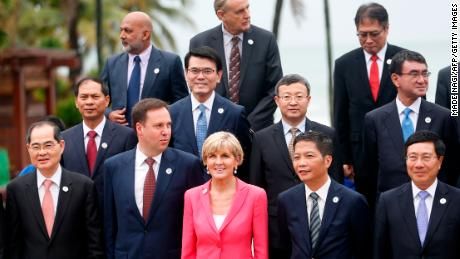 Australia's Foreign Minister Julie Bishop (front C) poses with other ministers ahead of the Asia-Pacific Economic Cooperation (APEC) Summit leaders meetings in Vietnamon November 8.