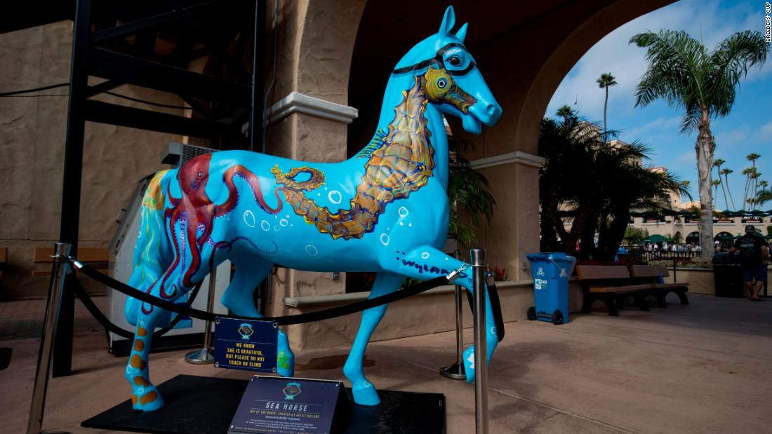 Some were distributed and placed in prominent areas of the city, while others were bought by establishments in the city -- all in the hope of generating interest in the Breeders' Cup.