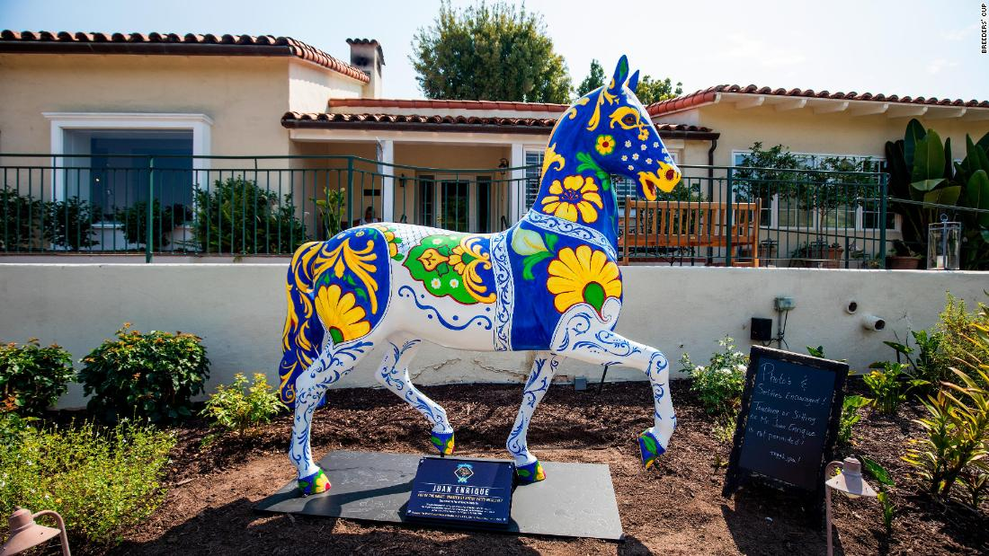 Made of fiberglass and standing at 7-feet high and 7-feet long, the statues are replicas of the horse atop the Breeders' Cup trophy.